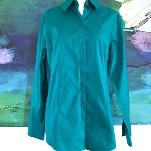Chico's Size 0 No Iron Button Down Teal Small